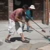 Grouting the Mosaics at Circle Hall