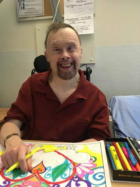 Fred has now moved to Evergreen and we expect him to come to our day program once he is settled. He's getting used to his new digs and excited to find out what kinds of activities are going on there including art!