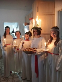 Beautiful angels dressed for the Santa Lucia festival