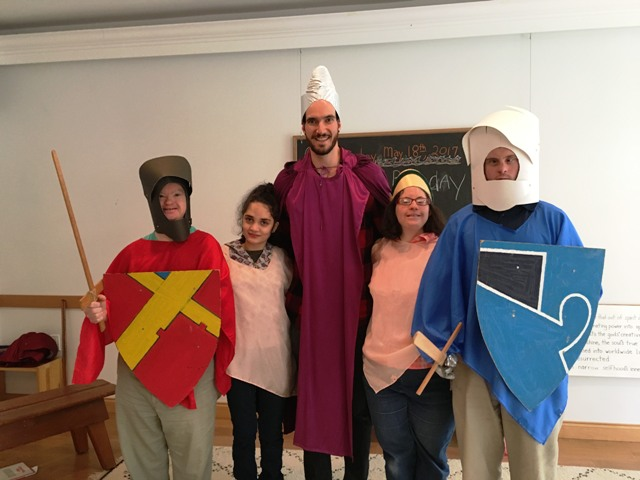 Elliott with some knights and ladies