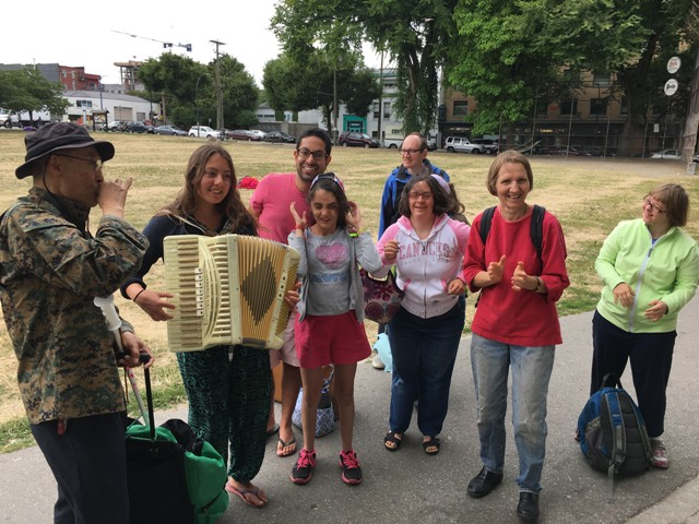 Last week Karin brought her accordion to Oppenheimer Park. It is amazing how music helps to bring everyone together.