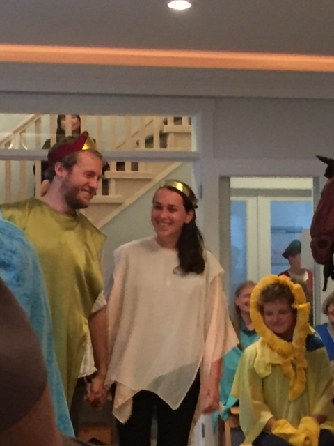 Dennis and Natalie, two of our new coworkers, and recently married, play prince and princess in our Water of Life play